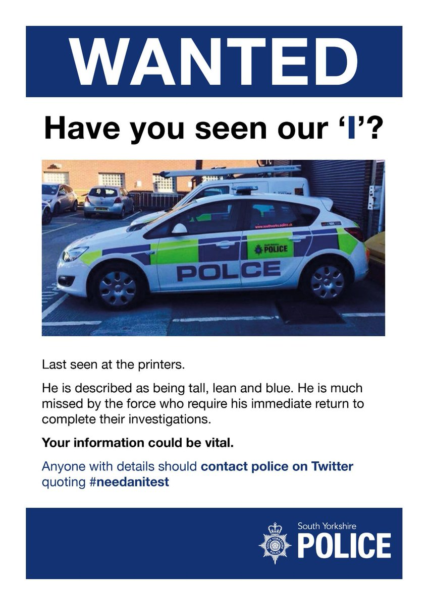 Force launches appeal following the disappearance of the letter 'i'. #needanitest http://t.co/qnkEYcWGpq
