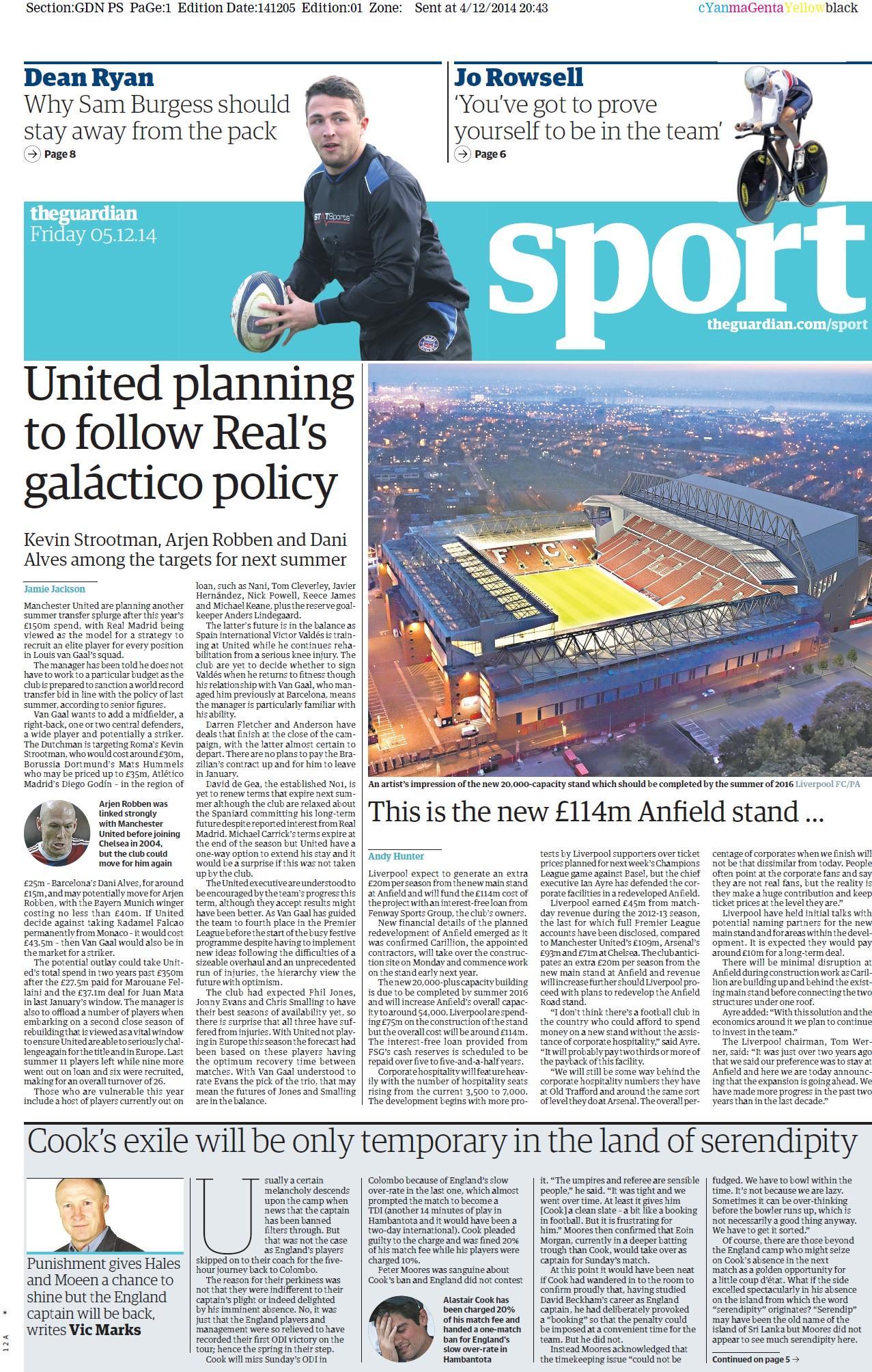 Portada de The Guardian del 5 de Diciembre
