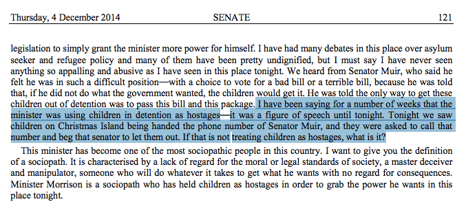Woah RT @mandymcn: Hansard (last night): kids on Christmas Is given Ricky Muir's ph no - told to call him & beg http://t.co/YU6il783LH