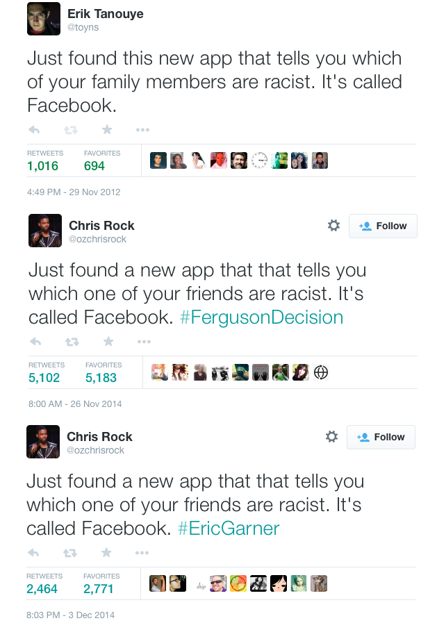 Noted joke thief @ozchrisrock liked my 2012 Facebook joke so much he stole it twice in two weeks. http://t.co/wwuVus65Kn