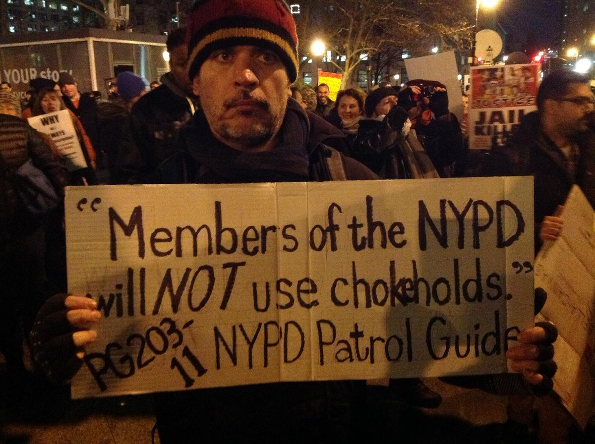 First protest sign I've ever seen quoting NYPD patrol guide http://t.co/53Tlp1YOBU