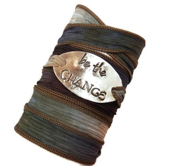 Be The Change You Wish to Seek - Fine Silver Silk Wrap Bracelet http://t.co/rZ4cfJzoRH http://t.co/ZVNCBGC0AG