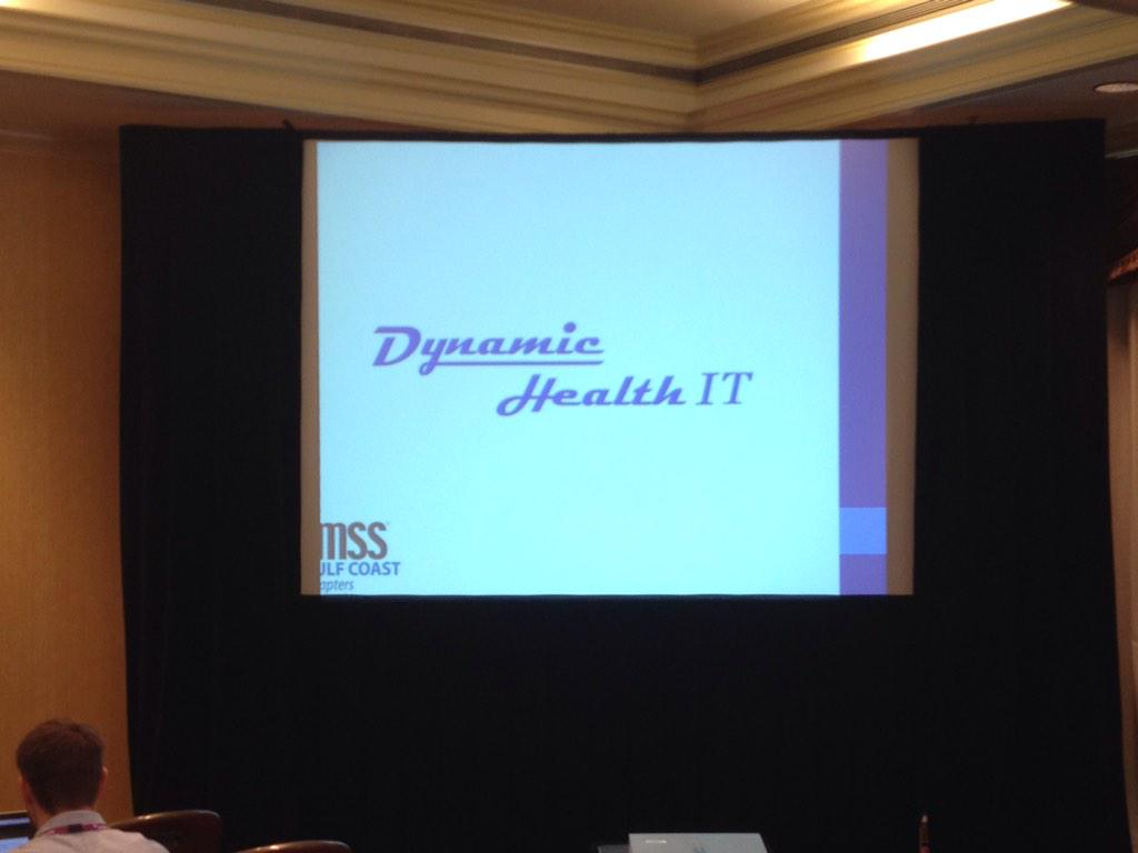 Our name in lights. Thanks to the good folks at #GC3HIMSS for giving us a chance to speak at lunch today. http://t.co/sBQKB8ymmu