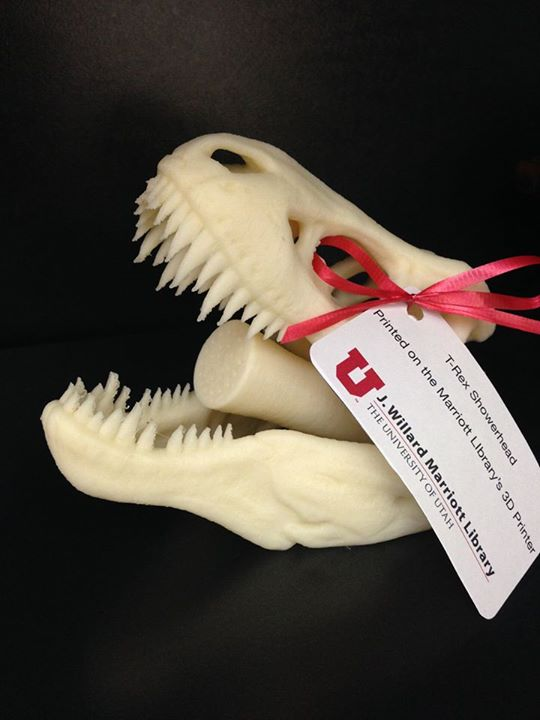 From University of Utah's Twitter feed (@UUtah): RT @MarriottLibrary: 3D printed T-Rex showerhead? Yes, please!