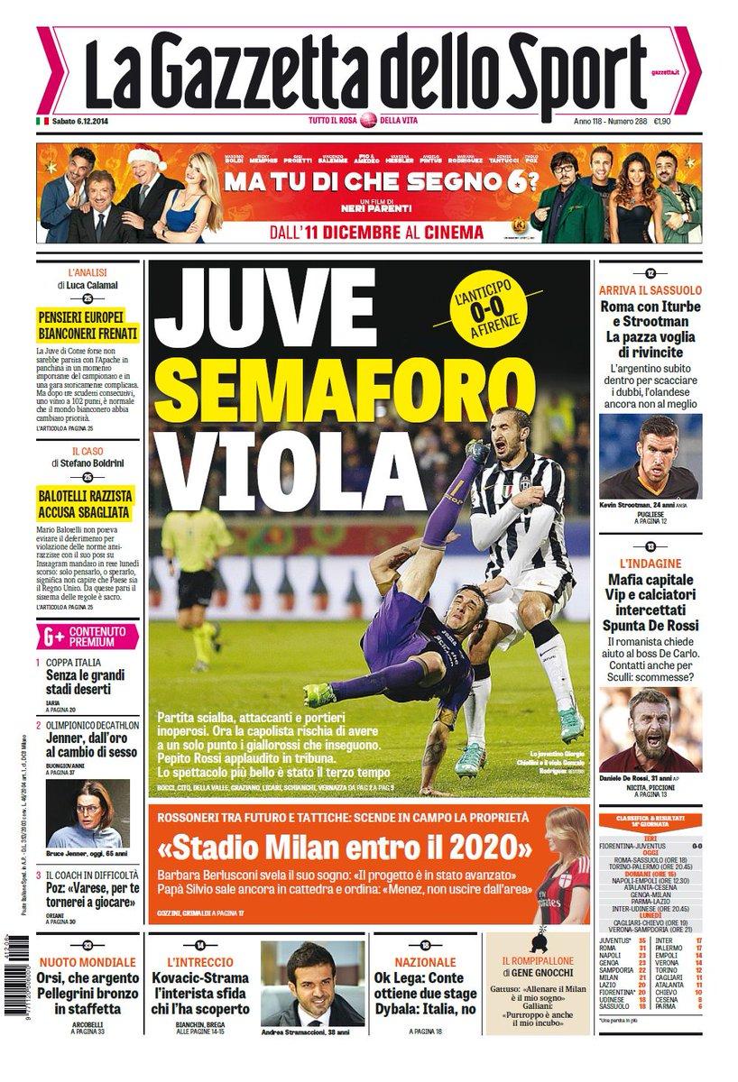 Portada de La Gazzetta dello Sport del 6 de Diciembre