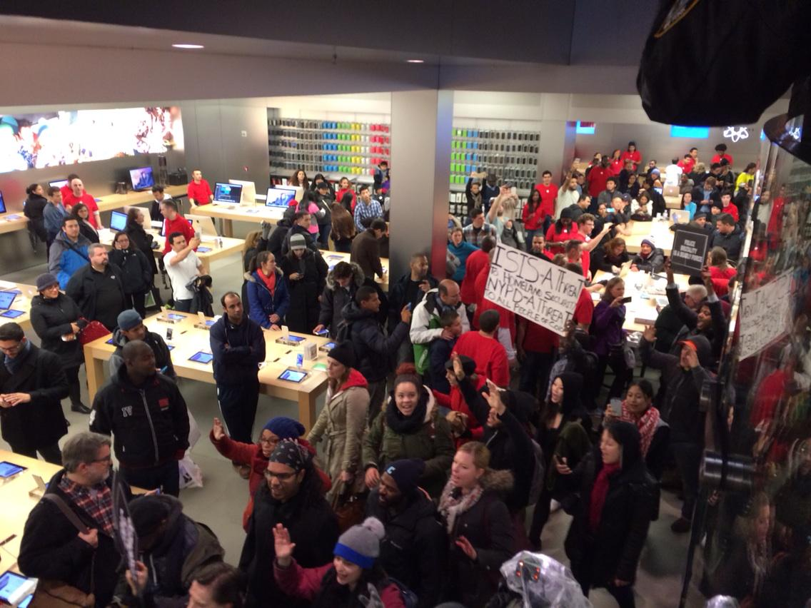Protesters took over Apple's iconic New York store to send a message about Eric Garner