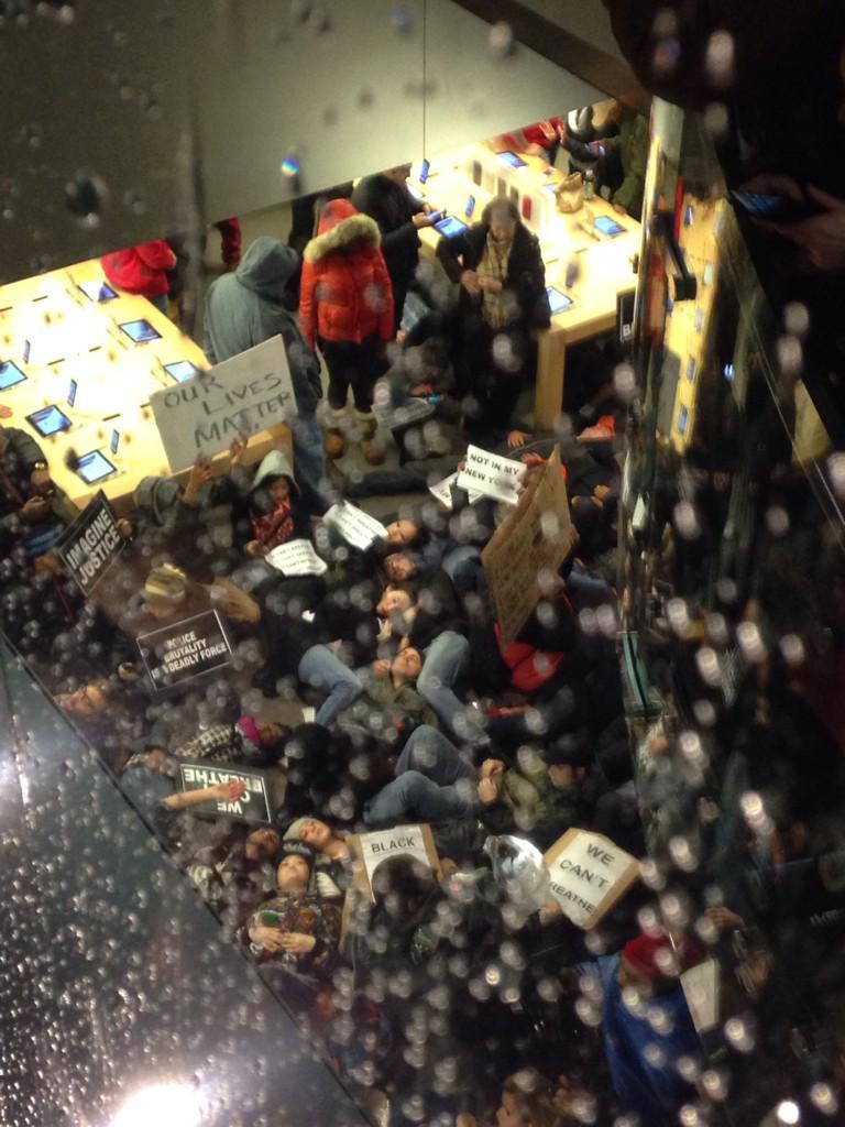 Mass die-in on the apple store floor. http://t.co/sZ3FrHAM2I