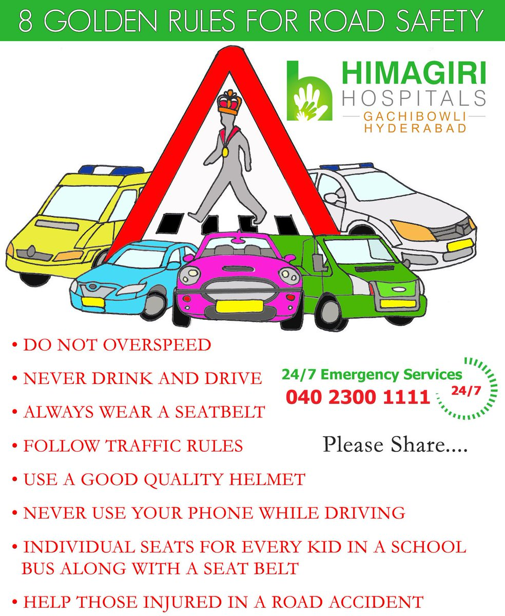 """Himagiri Hospitals on Twitter: """"8 Golden Rules for Road ..."""