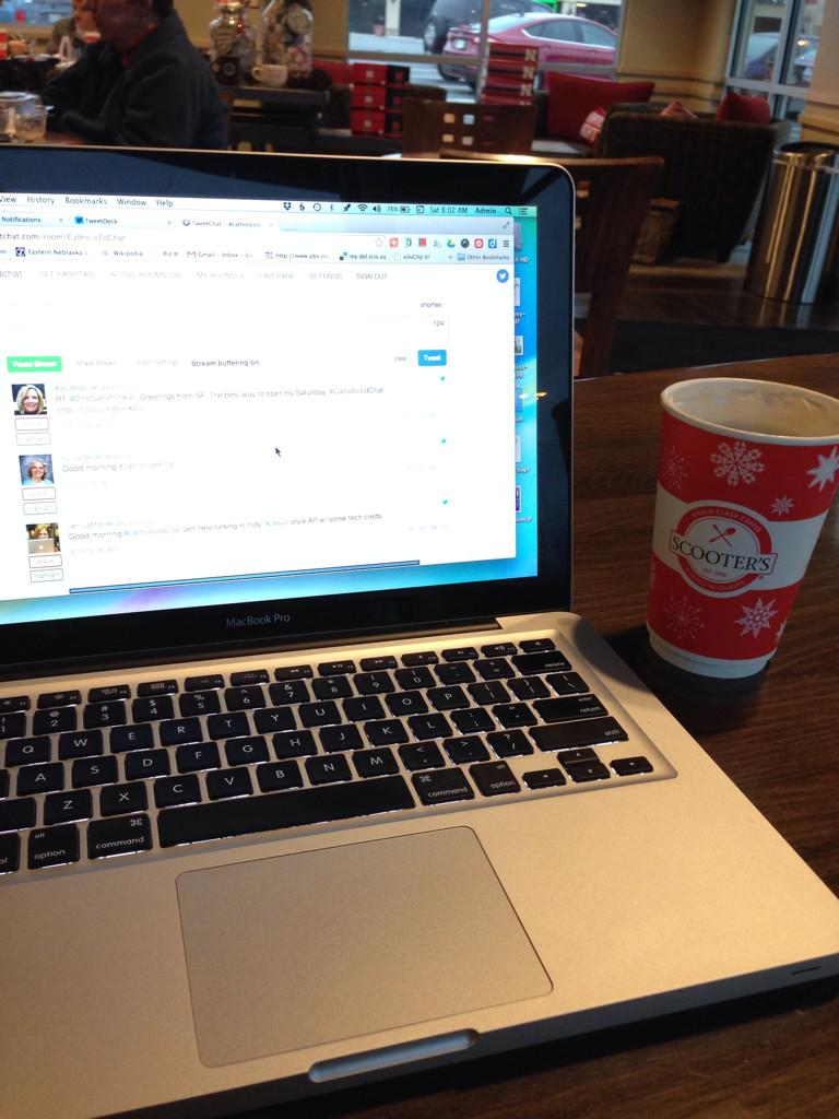 Enjoying my Caramelious at @scooterscoffee and chatting with #catholicEdChat http://t.co/1qIp5hTHux