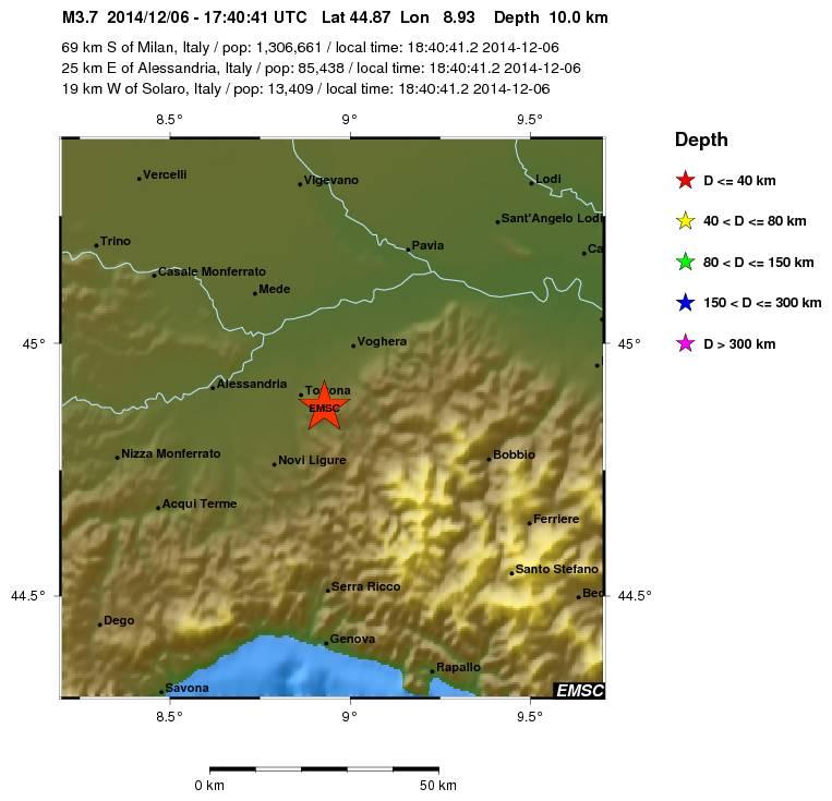 Terremoto Oggi Piemonte Lombardia sabato 6 dicembre 2014.