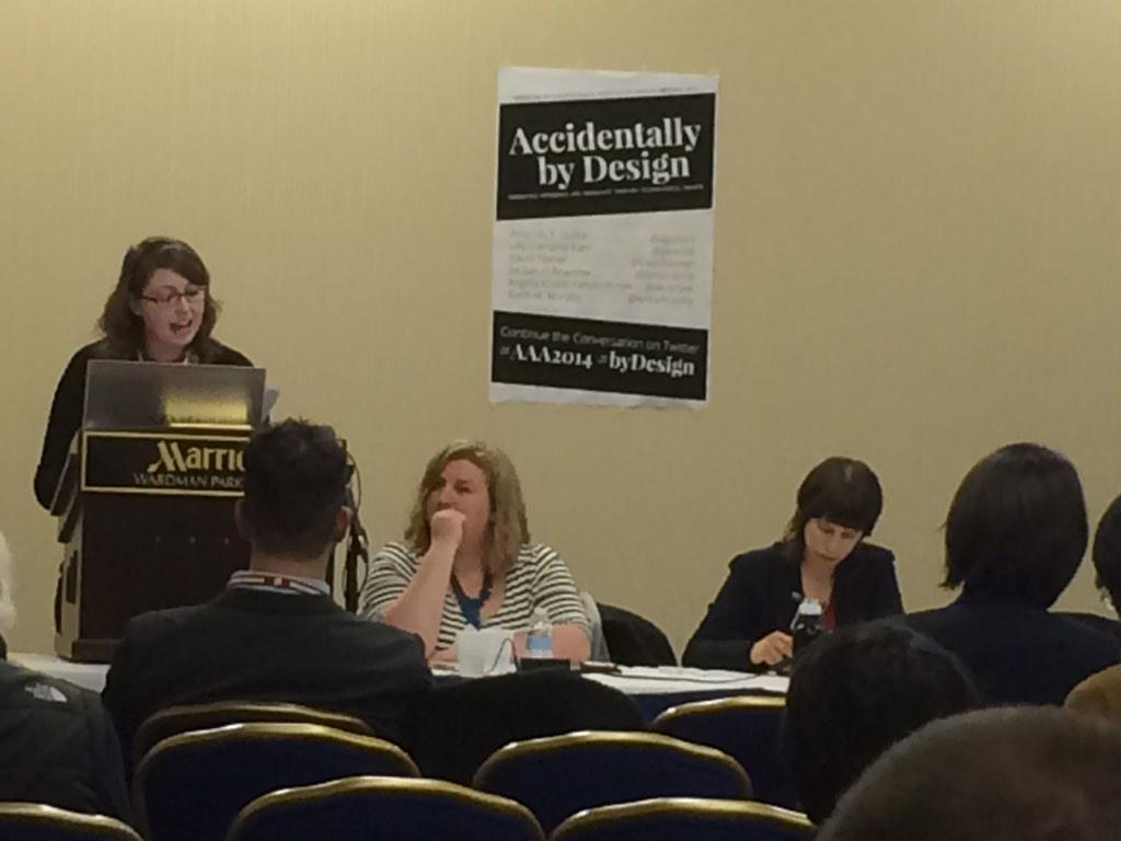 Listening to Amanda Guitar talk about Facebook and gender representation at #AAA2014 #bydesign http://t.co/lmipHNLwVy