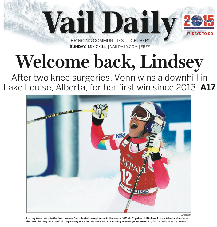 Tomorrow's Cover: @lindseyvonn back in the winner's circle as she tops downhill competition in Lake Louise, Alberta. http://t.co/5jKtJ1Db7K