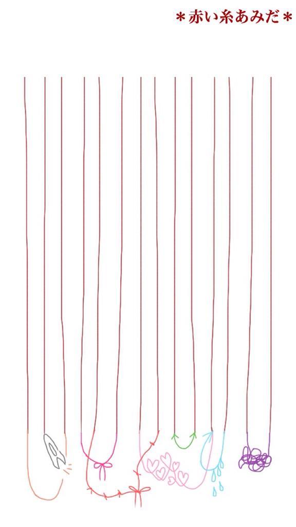 赤い糸の行き先を占うあみだを作ってみました。好きな様に横線と名前を足して、未知のカップリングを生み出してみてください。 関係性については、糸の色形からご自由にご想像下さい。
