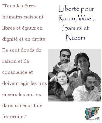 "#Douma4 #HumanRights #Syrie ""@SyrieMDL: Liberté pour Samira al Khalil, Wael Hamadé, Razan Zaitouneh et Nazem Hammadi http://t.co/f9WKqBsfxv"