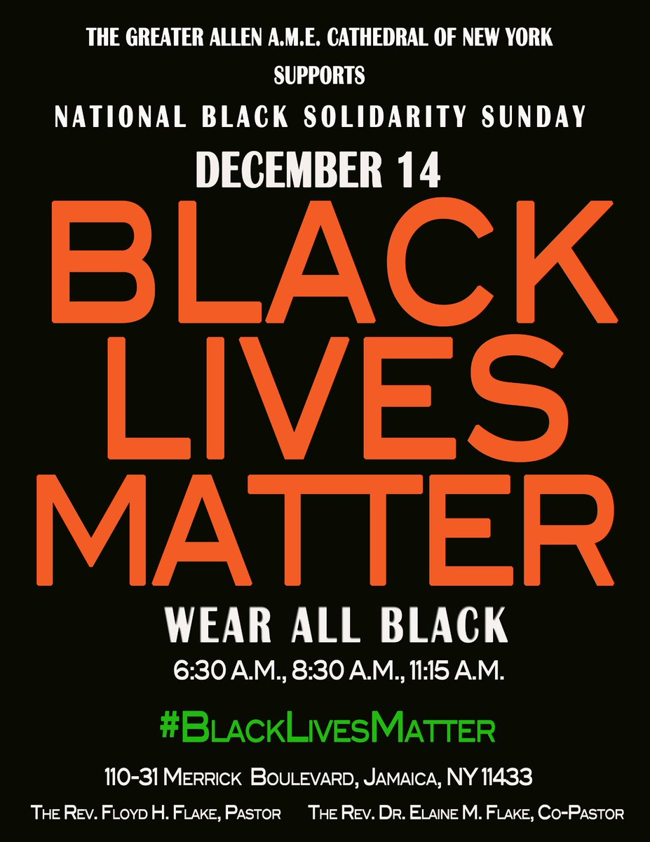 We will join with other churches in National Black Solidarity Sunday, December 14. #BlackLivesMatter #PrayChurch http://t.co/f4VSzxMhnM