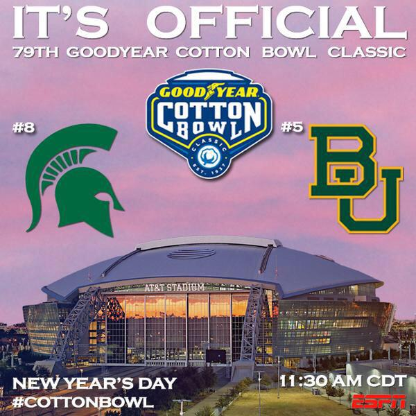 IT'S OFFICIAL! @MSU_Football vs. @BUFootball in the 79th Goodyear Cotton Bowl Classic on New Year's Day! #CottonBowl http://t.co/mVSGkNjXAq