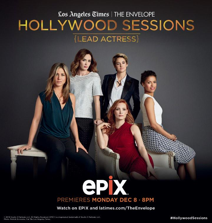 #HollywoodSessions debuts Monday w/Jennifer Aniston, Emily Blunt, @jes_chastain, Gugu Mbatha-Raw & @shailenewoodley. http://t.co/1TSPQp5YVR