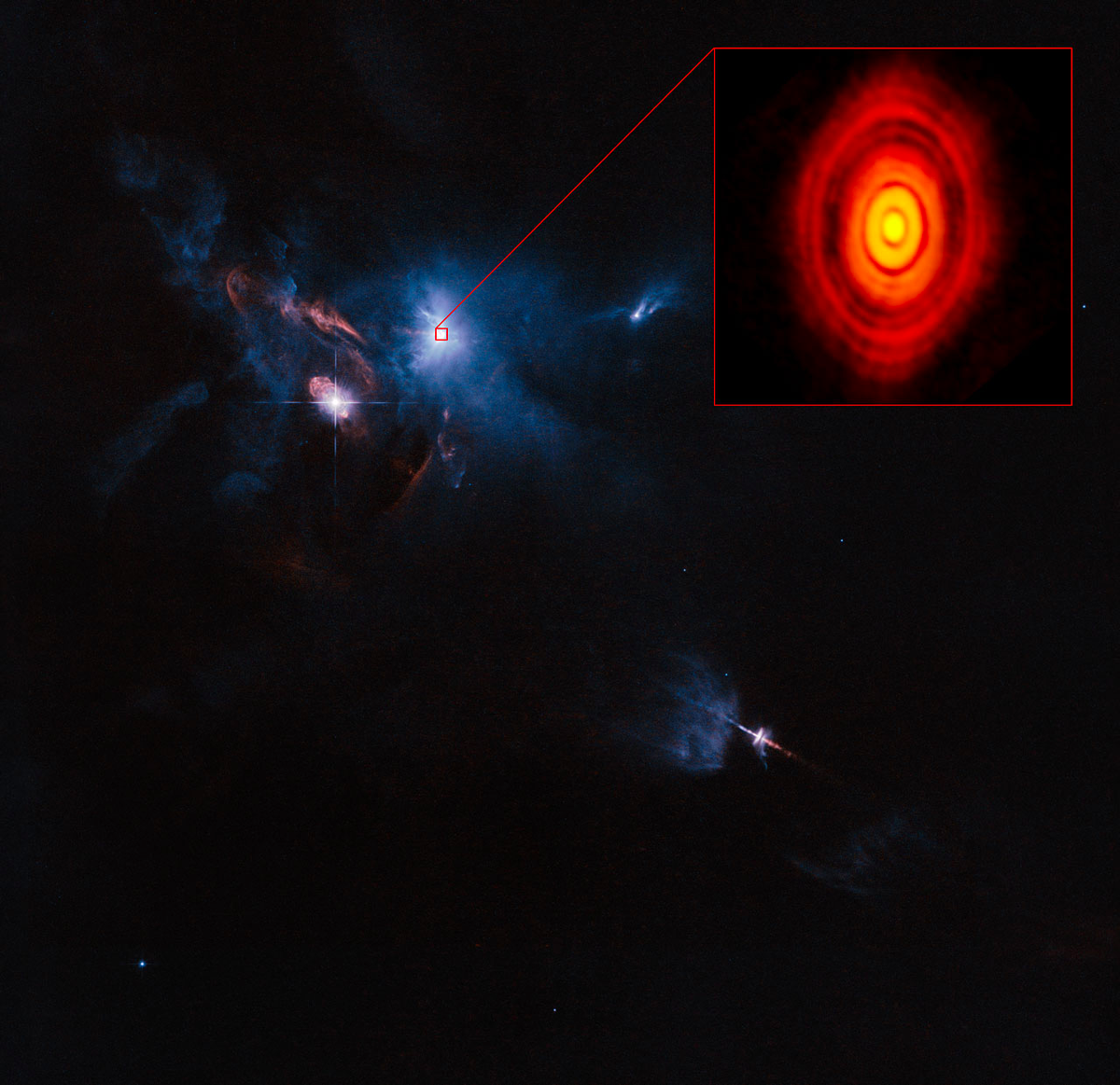 Whoa. A wide-field view of the area around the recently imaged porto-planetary disk. http://t.co/JgRb8nTiTJ http://t.co/10esrl4lWB