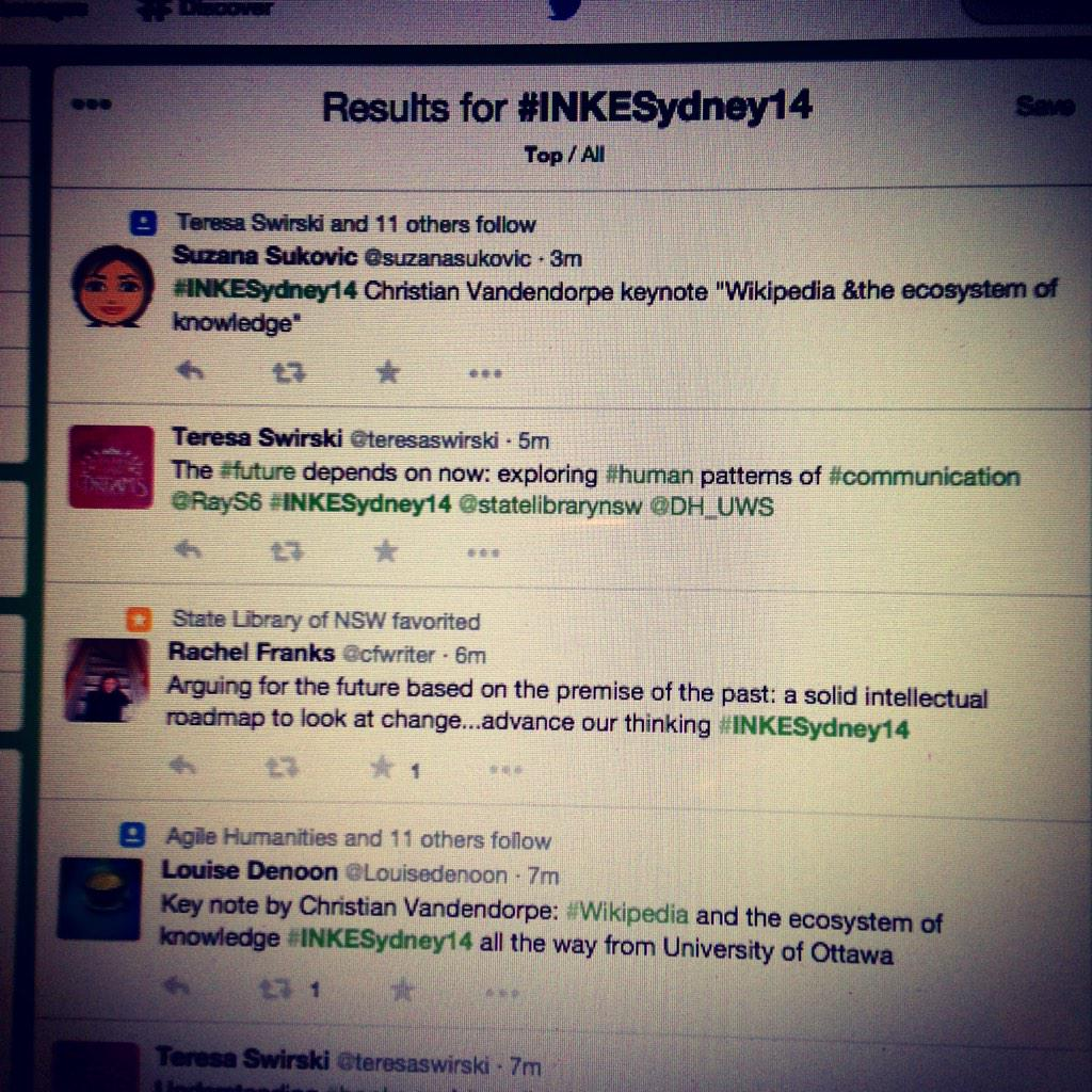 #INKESydney14 takes off (a meta-tweet)! http://t.co/iDXLvYzaA6