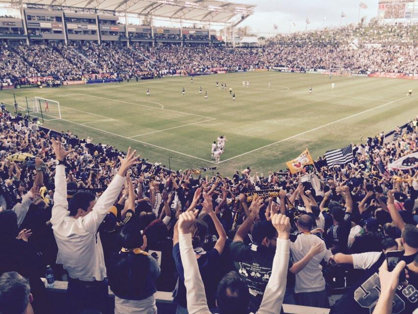 The scene at the StubHub Center after Robbie Keane's game-winning goal. (Jacob Freedman/Neon Tommy)