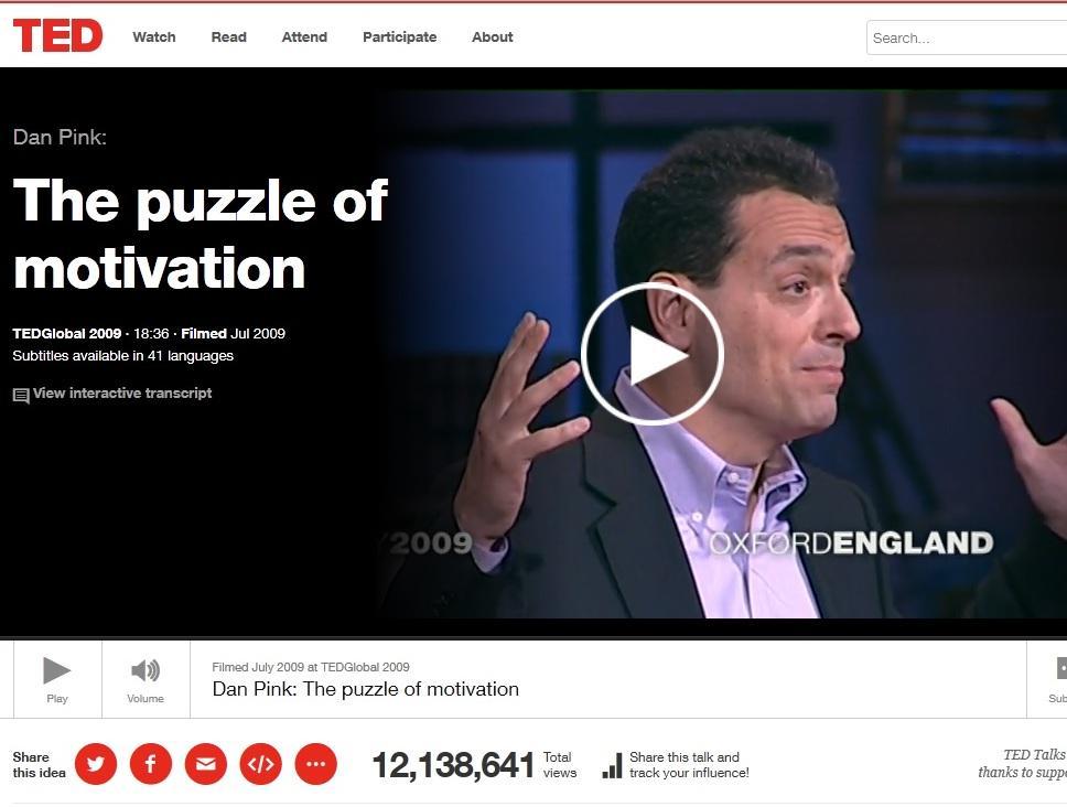 Dan pink the puzzle of motivation transcript
