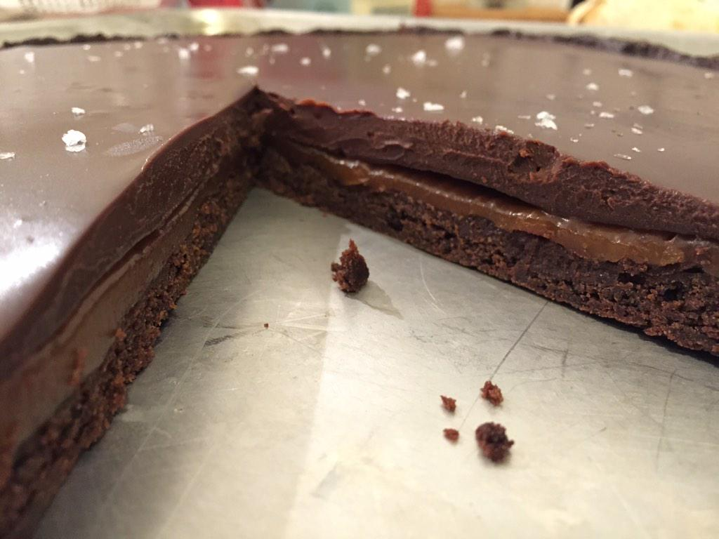 Omg this Chocolate Salted Caramel Tart from @tosscatering is #foodporn after 10 secs in the microwave http://t.co/XwljV9bMEl