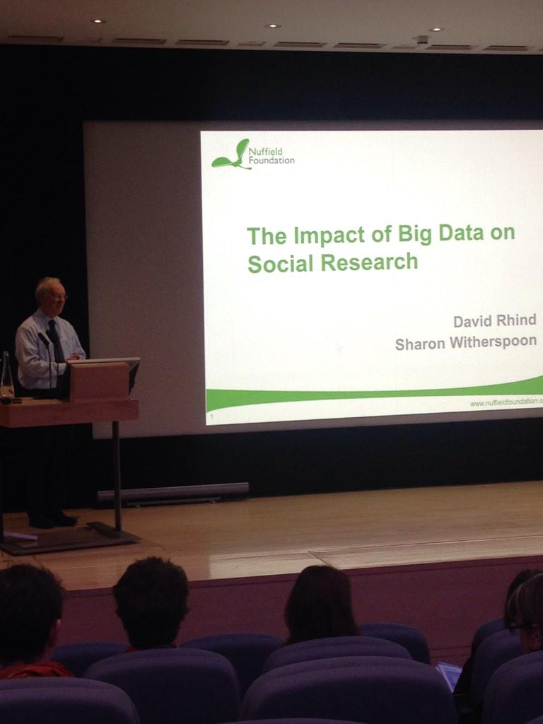 David Rhind kicks off first talk 'The impact of big data on social research' #SRAconf http://t.co/4wAAarb0Pn