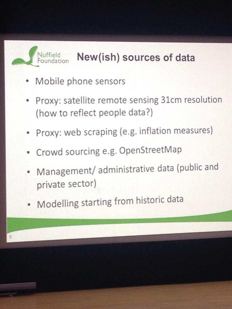 New ish sources of data, from David Rhind, Deputy chair of @UKStatsAuth in his keynote #sraconf http://t.co/WgolSDR4ed