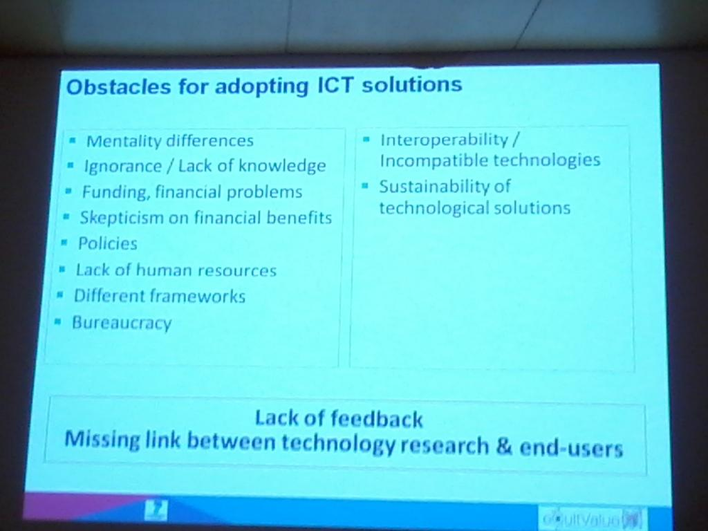 Obstaces for adopting ICT technologies and @eCultObs outcomes See more information at Linkedin group #Ecultws14 http://t.co/fpaavrKjN1
