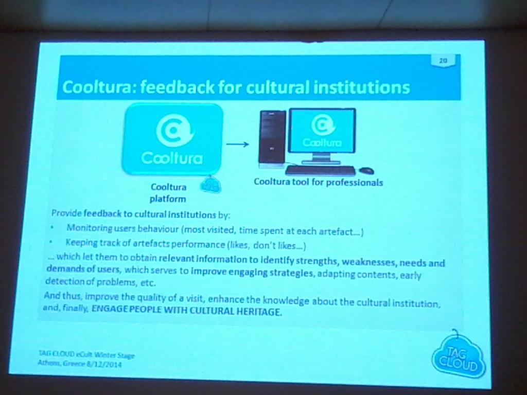 Cooltura feedback for cultural institutions monitoring users behaviour @TagCloudProject @alhambracultura #Ecultws14 http://t.co/s4wWP1t8oI