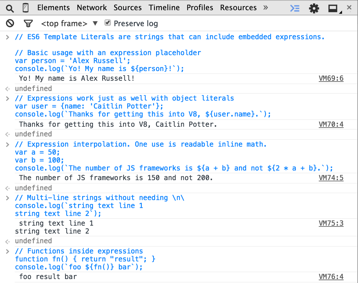 Addy Osmani On Twitter Es6 Template Strings Working In Chrome