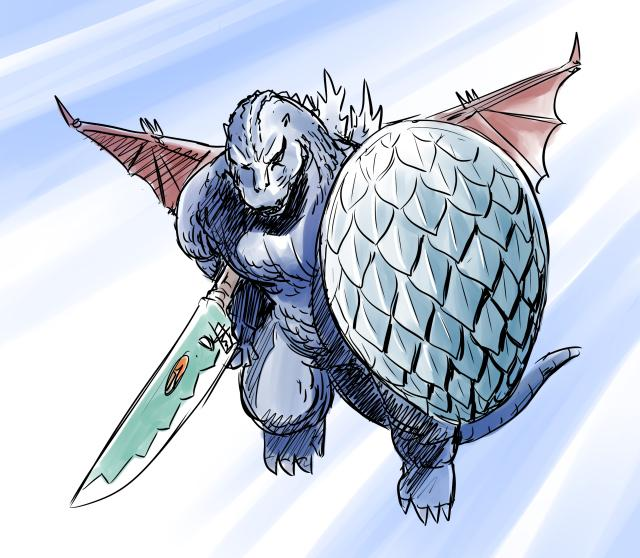こんな新作ゴジラは嫌だタグでつぶやいた武装ゴジラ、描いてみたらこれはこれか。方向性が当初の想定と違っちゃったけどw #こんな新作ゴジラは嫌だ http://t.co/c5OuhNtI00