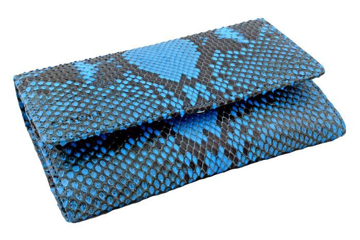 bd3e60de58 Portafoglio donna scomparti a soffietto vero pitone azzurro Cod.