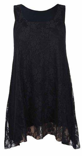 PurpleHanger Womens Plus Size Floral Lace Tunic Top