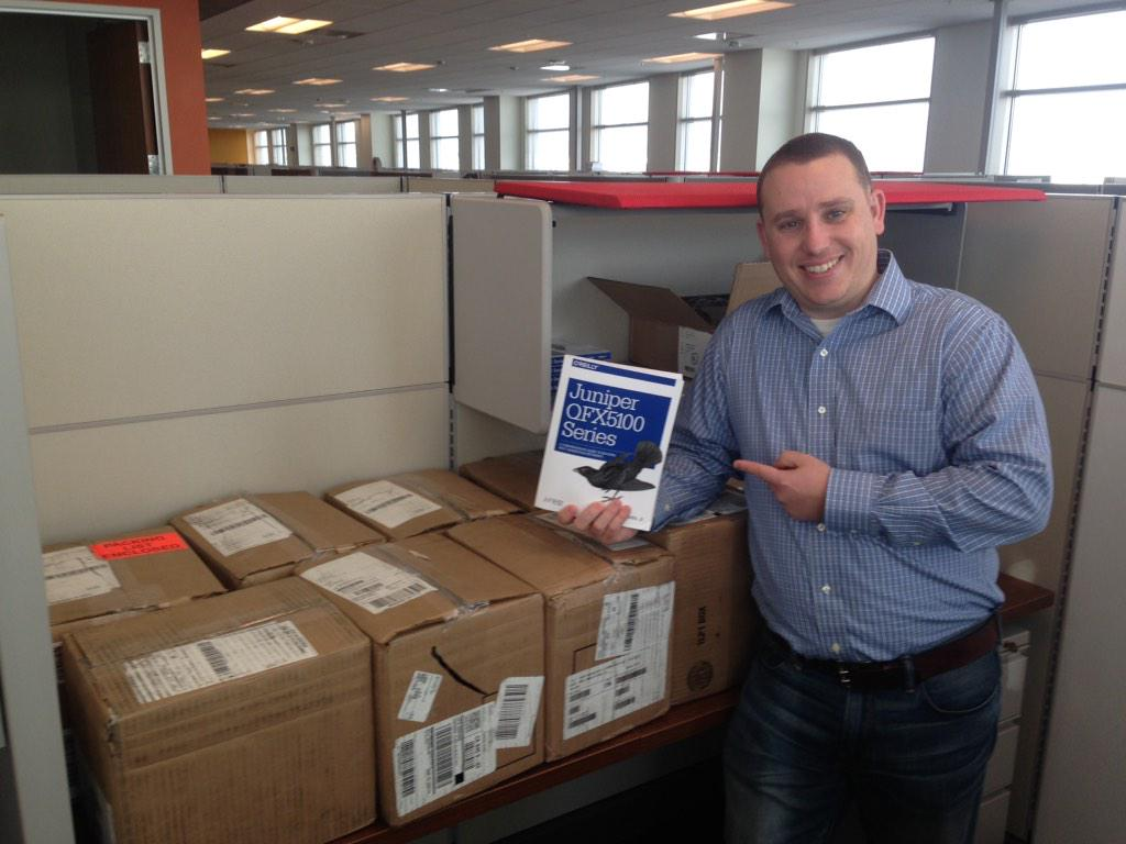 Looks like the first shipment of @douglashanksjr 's new @JuniperNetworks QFX5100 book has arrived at the office :) http://t.co/Z8Z3RR5QnD