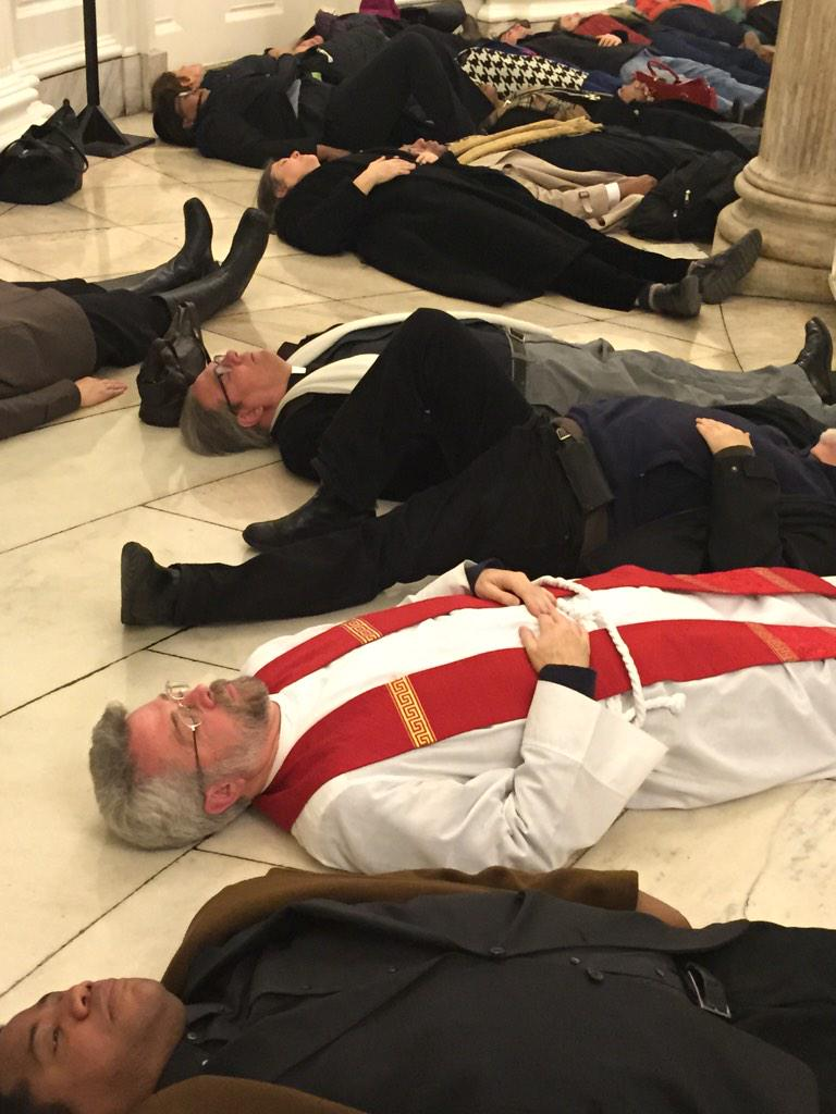 """""""@lsarsour: Clergy stage die-in NY City Hall rotunda. #ICantBreatheUntil #BlackLivesMatter #EricGarner http://t.co/CiOqfWmKYT"""""""