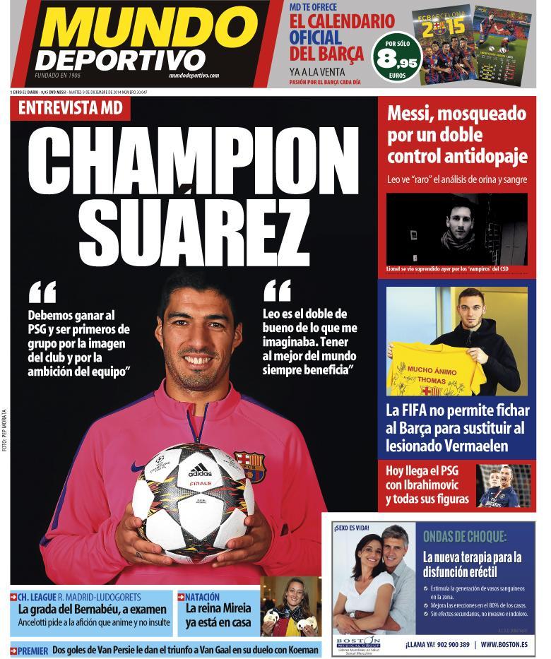 Portada de Mundo Deportivo del 9 de Diciembre