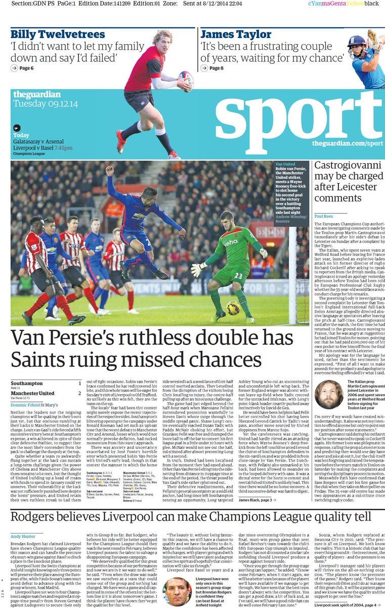 Portada de The Guardian del 9 de Diciembre