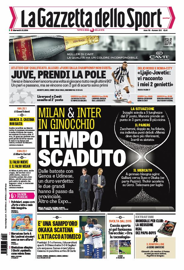 Portada de La Gazzetta dello Sport del 9 de Diciembre