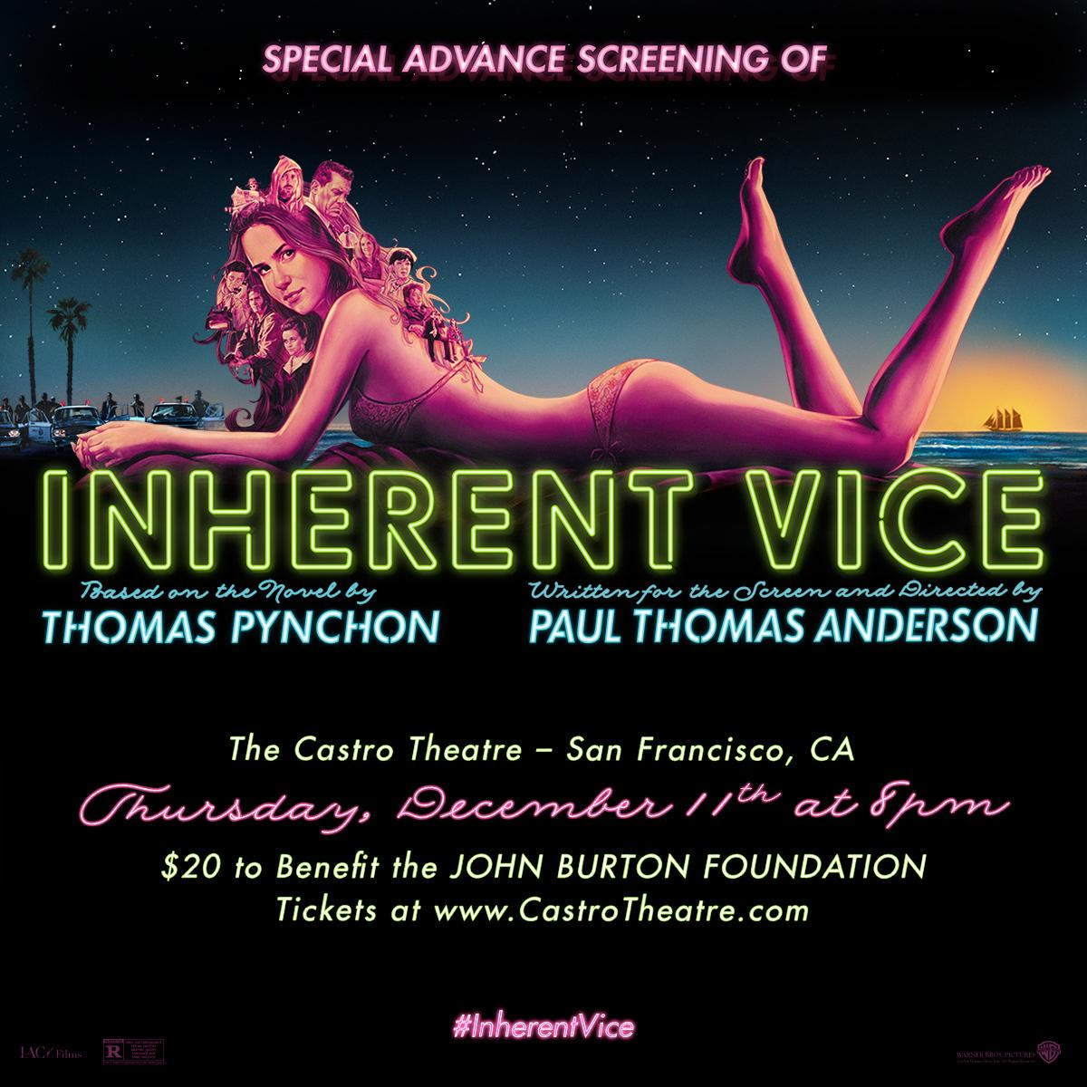 Special Advance Screening of INHERENT VICE. Thursday December 11. Purchase tickets now >> http://t.co/K3hWayA3kU http://t.co/4AVjPk0h3Q