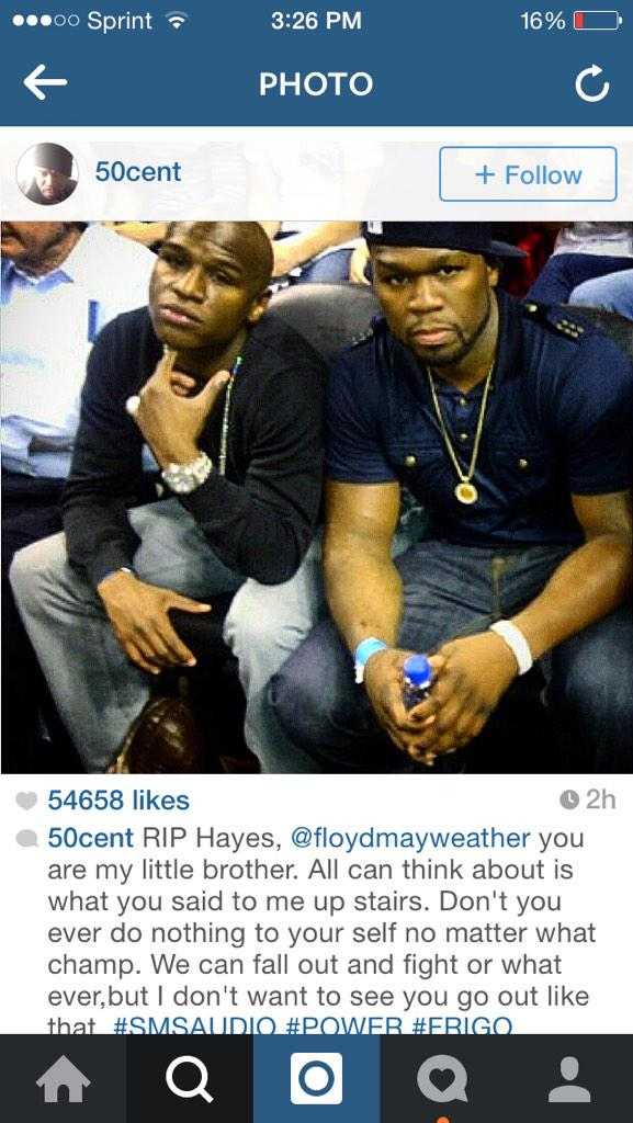 50 Cent and Floyd Mayweather squashed their issue. I hate seeing successful black men hating on one another✊ http://t.co/OuXASAjcYe