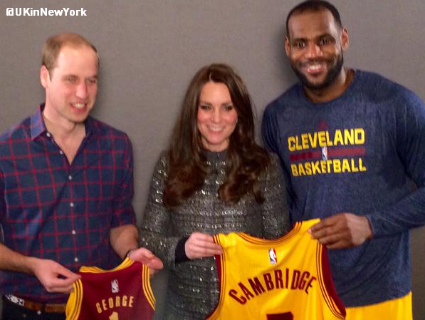 .@KingJames gives @cavs jerseys to William and Kate -- and Prince George -- following Cavs-Nets game. http://t.co/pkFYvTjNca