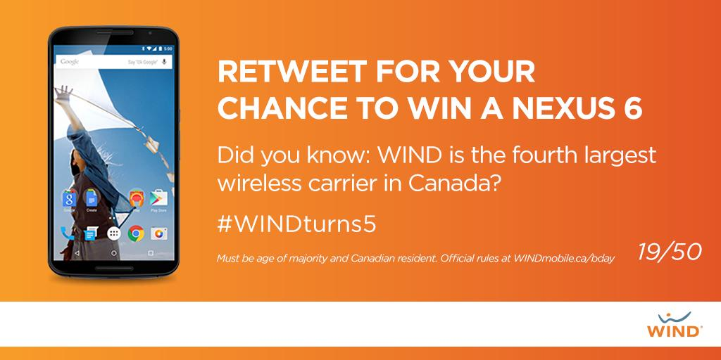 WIND #BirthdayGift! RT this post in the next 5min for a chance to win the 19th #Nexus6!