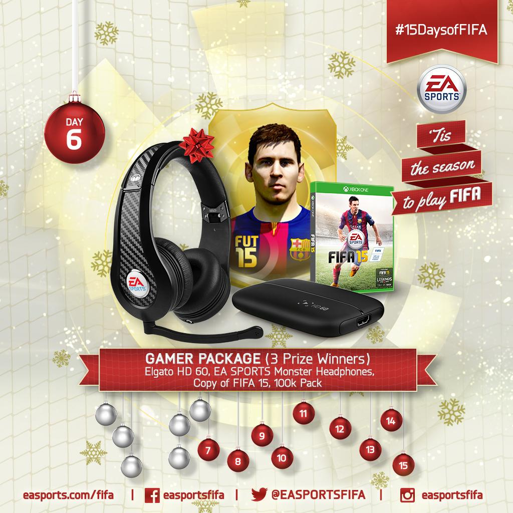Day 6: Gamer Package w/ @elgatogaming HD60, @Monster_EU headphones and 100K pack! RETWEET to win. #15DaysofFIFA http://t.co/vqhtAIC1S9