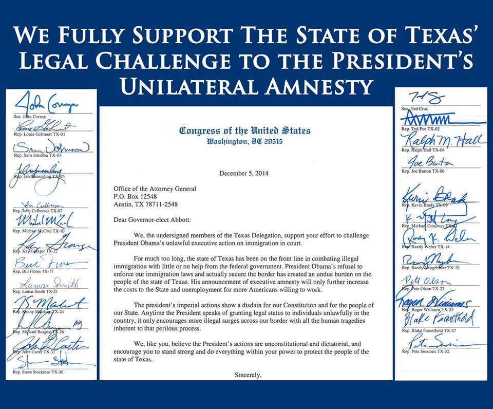 I'm proud to join my colleagues in supporting @GregAbbott_TX legal challenge against the Presidents executive amnesty http://t.co/M00wNuejfs