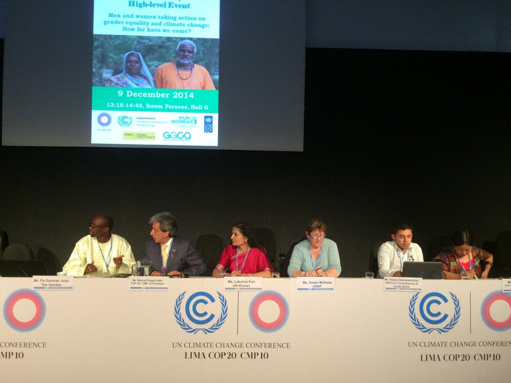 "Gender Day w/ #COP20 president. ""It is a time to include the gender approach as the solution"" @UN_ClimateTalks http://t.co/7EUS8XeEcI"