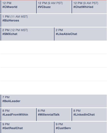 Great Twitter Chat Tuesday! #CMWorld  #ChatWhirled #BizHeroes  #millennialTalk #LinkedinChat #CustServ  and more! http://t.co/8vUzewjOtU