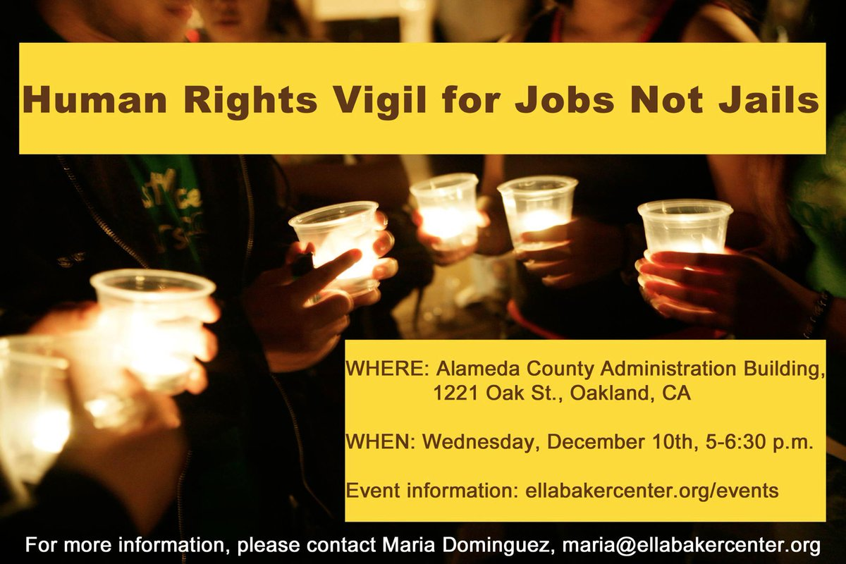 Human Rights Vigil for Jobs Not Jail @ Alameda County Admin Bldg | Oakland | California | United States