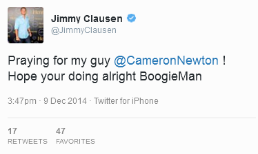 Former #Panthers QB Jimmy Clausen tweets at Cam following crash. Social media reaction: http://t.co/bJOsE8cuNy http://t.co/2yEudSJgrN