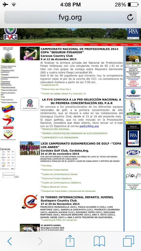 Que Triste que la Federación Venezolana de Golf no coloco ni una nota sobre mi torneo. Que mucho nos falta Sres. http://t.co/kcGDRilABu